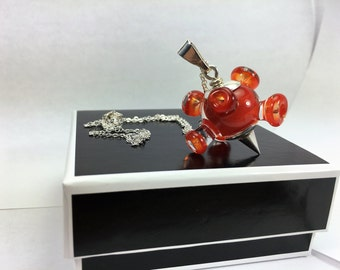 Funky bead pendant, Murano glass jewelry, red bead, different, cute.