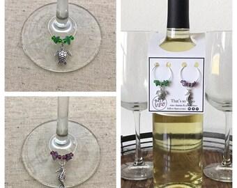 Sea Turtle & Seahorse Wine Charms