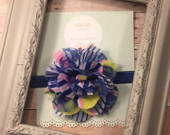 Bold blue yellow pink and white headband with lace