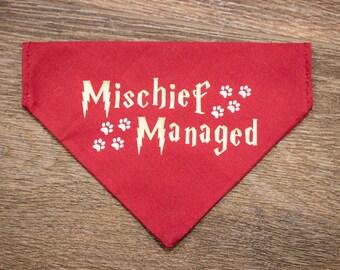 Custom Harry Potter Mischief Managed Over the Collar & Tie Dog Bandana