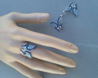 Handmade Sterling Silver Turkish ButterflyBridal Jewelry Boho Jewelery Enamel and Cubic Zirconium Ring Earing Set Custom Made Jewelry