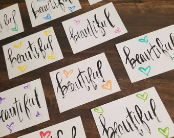 Set of cards; hand painted; brush lettering; beautiful