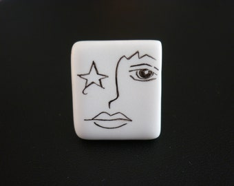 Ring Rectangle face black and white ceramic hand painted