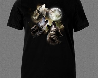 Howling Wolves  Moon animal Nature T-shirt