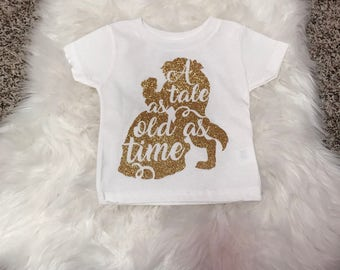 Beauty and the Beast//A Tale As Old As Time//Glitter// Tee or Onesie