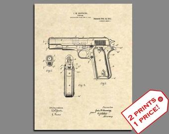 Patent Prints - Browning 1911 Hand Gun Patent Art - Vintage Gun Art Print - Gun Wall Decor Patent Poster - Colt Pistol Gun Wall Art - 8