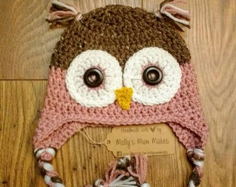 Pink Crochet owl hat age 3-6months, crochet baby hat, baby girl gift, baby shower gift, crochet baby girl hat