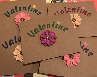 5 Pack: Valentine Flower cards