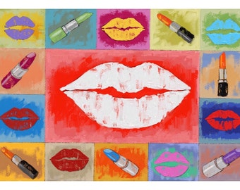 painting, lipstick, mouth, lips