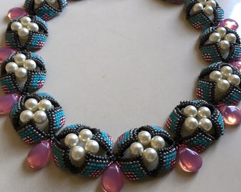 "Turquoise and Silver lined Mauve handmade beaded 22"" necklace"