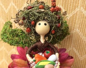 Fruit and Vegetable Harvest Fairy Doll, Autumn Fairy, Garden Fairy, Collectible Fairy, Whimsical Fairy, Miniature Fairy Doll,