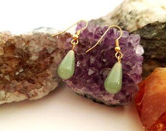 Olive Jade Tear Drop Earrings, Gift Ideas, Gemstone Jewellery, Gold Earrings, Stress Stone, PTSD Stone, Healing Stone, Worry Stone,Fertility