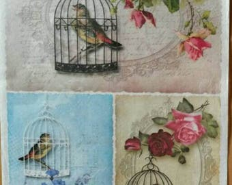 A4 Vintage Rice Paper, Decoupage Paper, Mixed Media Paper, Card Making Paper, Scrapbooking Paper, Birds Theme Paper, Retro Rice Paper