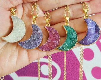 Druzy Crescent Moon Chokers Necklaces (Select Style)