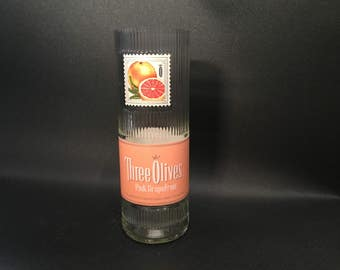 HANDCRAFTED Candle UP-CYCLED 750ML Three Olives Pink Grpaefruit Vodka Bottle Soy Candle. Made To Order !!!!!!!