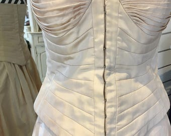 Vintage 1980's boned bodice and A-line skirt by John Charles size 10 (36 inch bust): champagne colour, fully lined, prom/evening