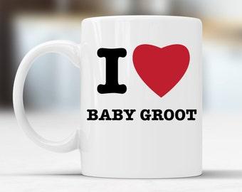 I Heart Baby Groot White Ceramic Mug Double Sided 10oz Dishwasher Safe