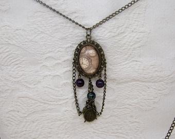 Steampunk Watch Clock Face Necklace Pendant