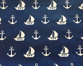Half metre (50cm) nautical fabric, anchor fabric, ship fabric, navy blue fabric, sea fabric, ships fabric