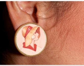 Vintage clip on earrings -Lady wearing a bonnet
