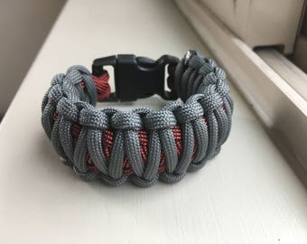 King Cobra Paracord Bracelet for Boys that's Charcoal Gray and Licorice