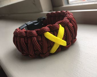 Paracord Bracelet King Cobra X Marks the Spot Style ---Made to Order--- Colors Licorice and Yellow