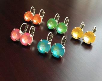Neon Orange, Green, Yellow, Pink OR Blue Swarovski Crystal Earrings