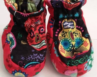 Mexican skull baby booties shoes