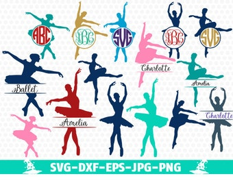 Ballerina SVG, Ballet SVG Ballet Dancer svg cut files for Silhouette, cut files for crcut, svg files, Monogram frames svg, Circle monogram