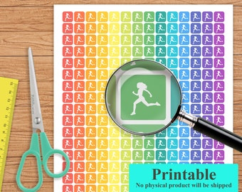 Printable Running Planner Stickers, Running Stickers, Erin Condren Planner Stickers, Weekly Planner Stickers, Pastel, St35-2