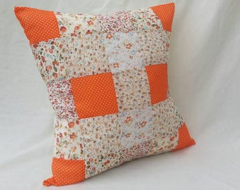 "Orange 16"" Patchwork Cushion"