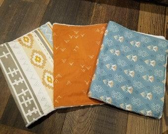 Set of 3 18 in x 12in Burp Cloth Set