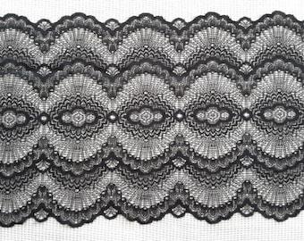 """Beautiful stretch black lace 9"""" wide  trim"""