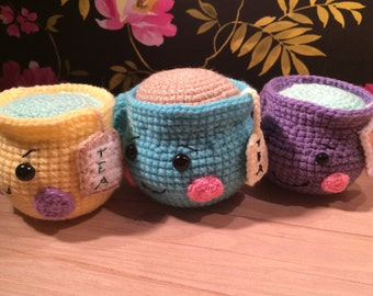 Large, Crocheted Teacups