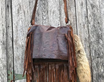Embossed leather handbag crossbody with soft fringe!  Western, style, boho, flap!