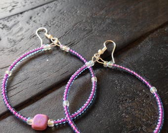 Purple Pearly Glass Hoop Earrings