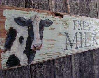 Hand-Painted Fresh Milk Sign