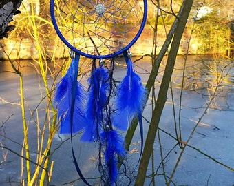 Blue dream catchers, wall decoration, dreamcatcher, Bohostyle, hippie, Tischdeckschen