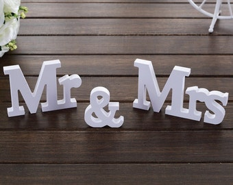 3 Pcs Mr & Mrs White Wooden Letters
