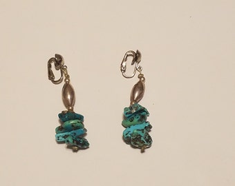Vintage Silver and Turquoise Clip-on Earrings