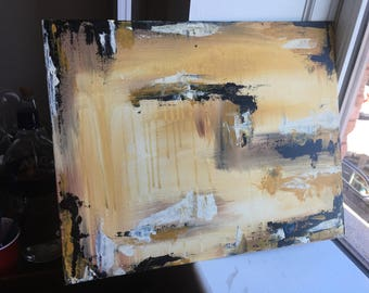 16x20 Black and Gold Abstract Painting
