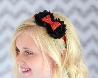 Black and Red Flower/Sequin Headband