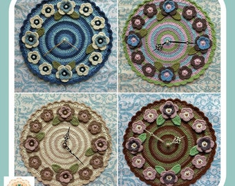 Clock, Wall Clock, Crochet Wall Clock, Crochet Clock, Crochet Flower Clock