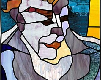 Artdeco man-portrait.Stainedglass pattern