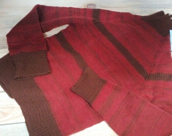 Unique red brown pullover from merino yarn - S(44) size