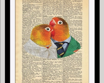 LOVE BIRDS Always / Dictionary Art Print