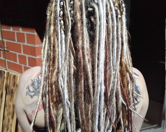 Various DE dreads blond and grey tones