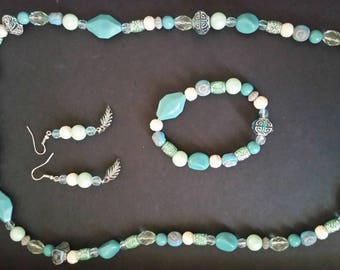 Necklace, bracelets, and earrings