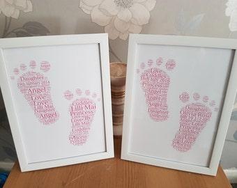 A4 framed baby feet word art print