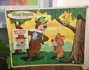 Vintage Hanna-Barbera Yogi Bear frame tray puzzle 1963